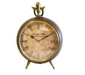 Zegar stojący na nóżkach oprawa skórzana Wys.33 cm