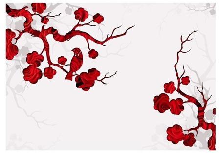 Fototapeta - Czerwony krzew