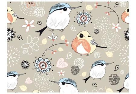 Fototapeta - Wzór z ptaszkami na różowym tle