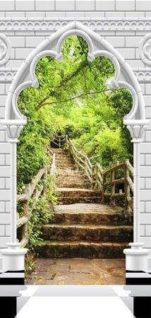 Fototapeta na drzwi - Tapeta na drzwi - Łuk gotycki i kamienne schody