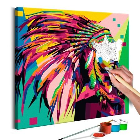 Obraz do samodzielnego malowania - Indianin (pióropusz)