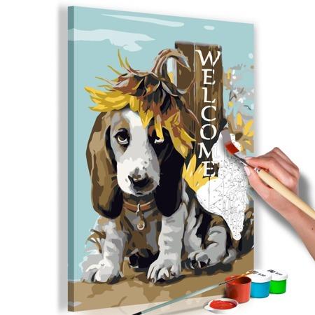 Obraz do samodzielnego malowania - Pies i słoneczniki