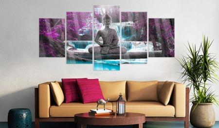 Obraz na szkle akrylowym - Wodospad i Budda [Glass]